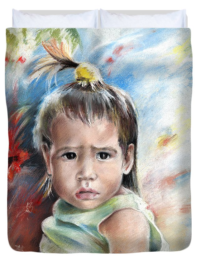 Travel Duvet Cover featuring the painting Little Girl From Tahiti by Miki De Goodaboom