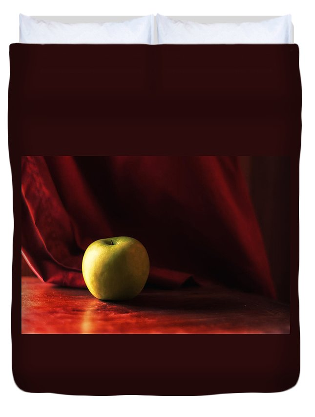 Apple Duvet Cover featuring the photograph Little Green Apple by Susan Capuano