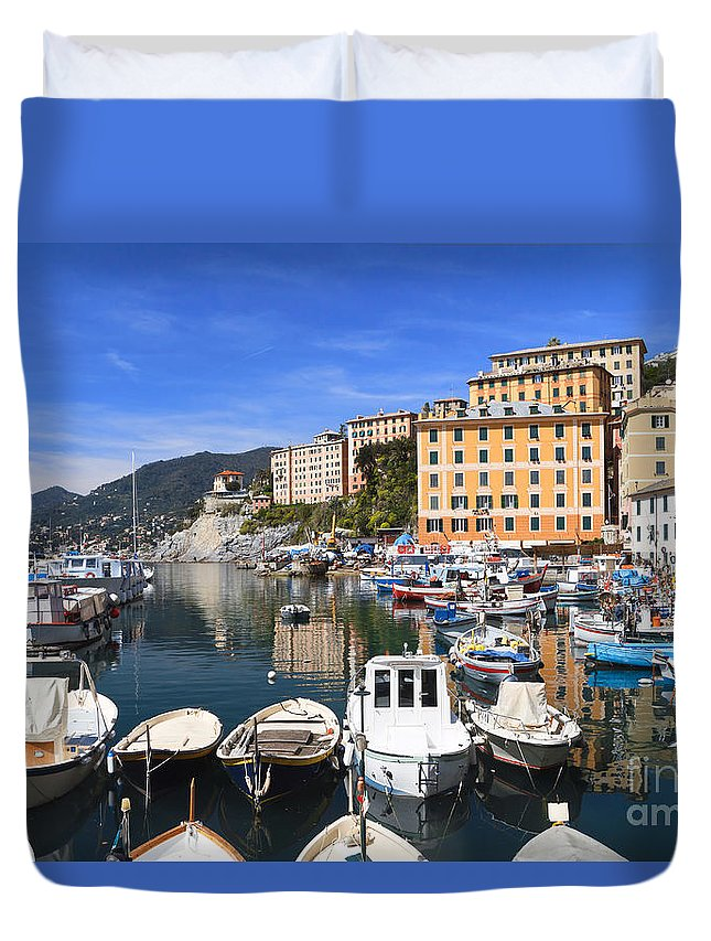 Blue Duvet Cover featuring the photograph little harbor in Camogli by Antonio Scarpi