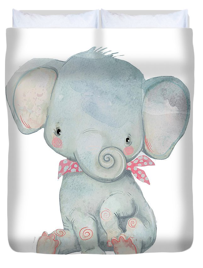Watercolor Painting Duvet Cover featuring the digital art Little Pocket Elephant by Cofeee