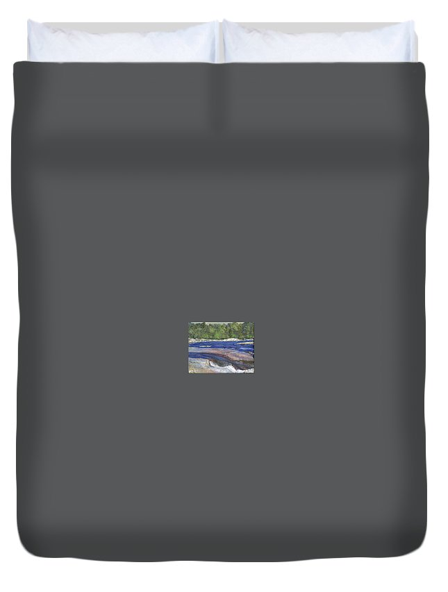 Moose River Duvet Cover featuring the painting Little Rapids by Sheila Mashaw