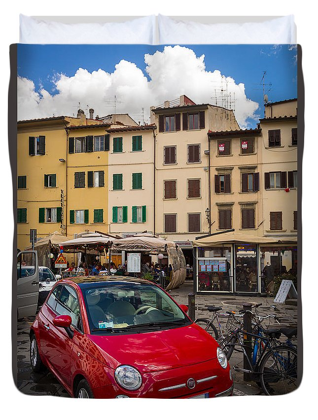 Europe Duvet Cover featuring the photograph Little Red Fiat by Inge Johnsson