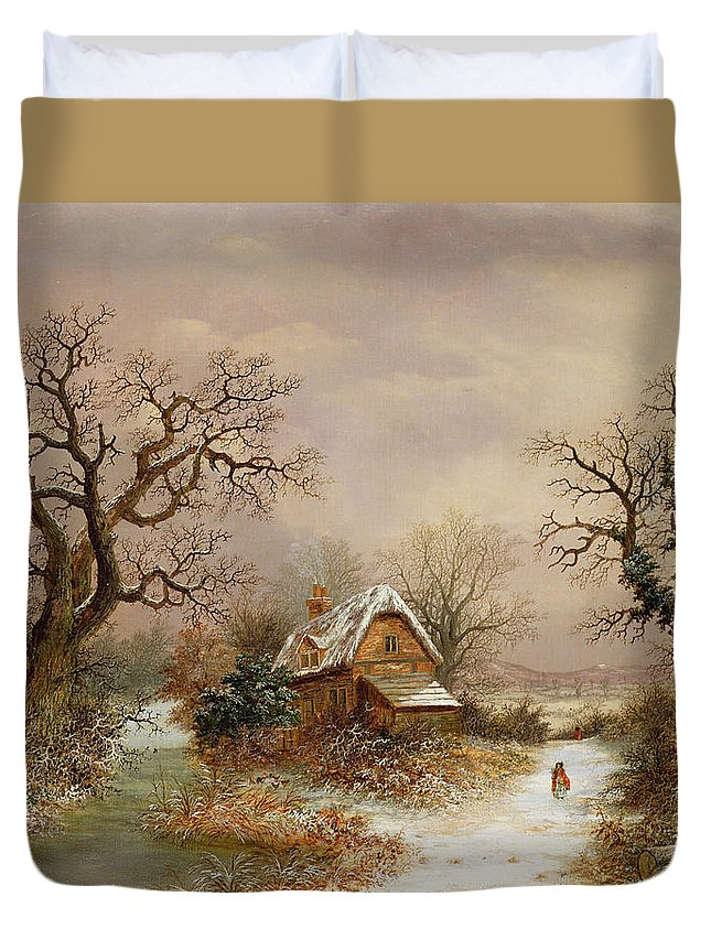 Story Duvet Cover featuring the painting Little Red Riding Hood In The Snow by Charles Leaver