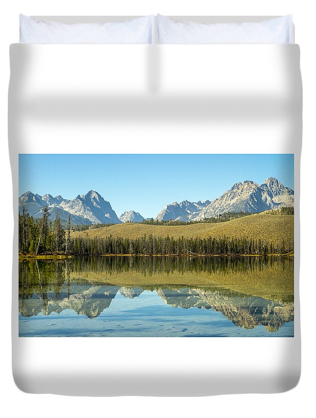 Idaho Duvet Cover featuring the photograph Little Redfish Lake by For Ninety One Days