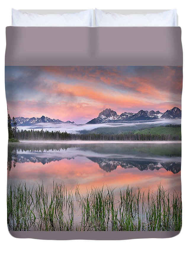 Scenics Duvet Cover featuring the photograph Little Redfish Lake, Sawtooth Mountains by Alan Majchrowicz