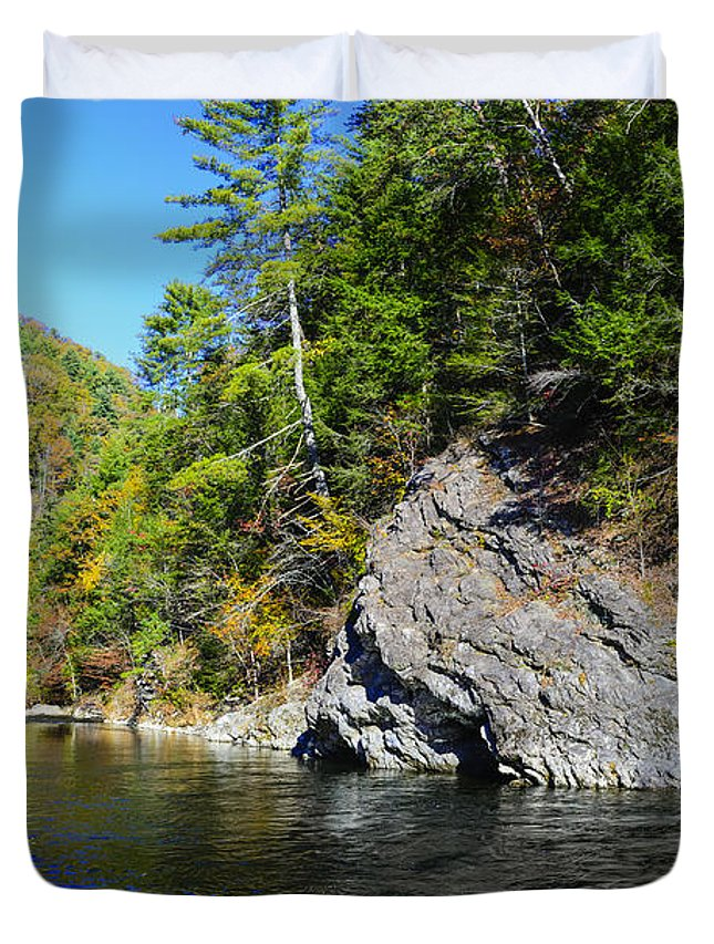 Autumn Duvet Cover featuring the photograph Little River Near Cades Cove by Steve Samples
