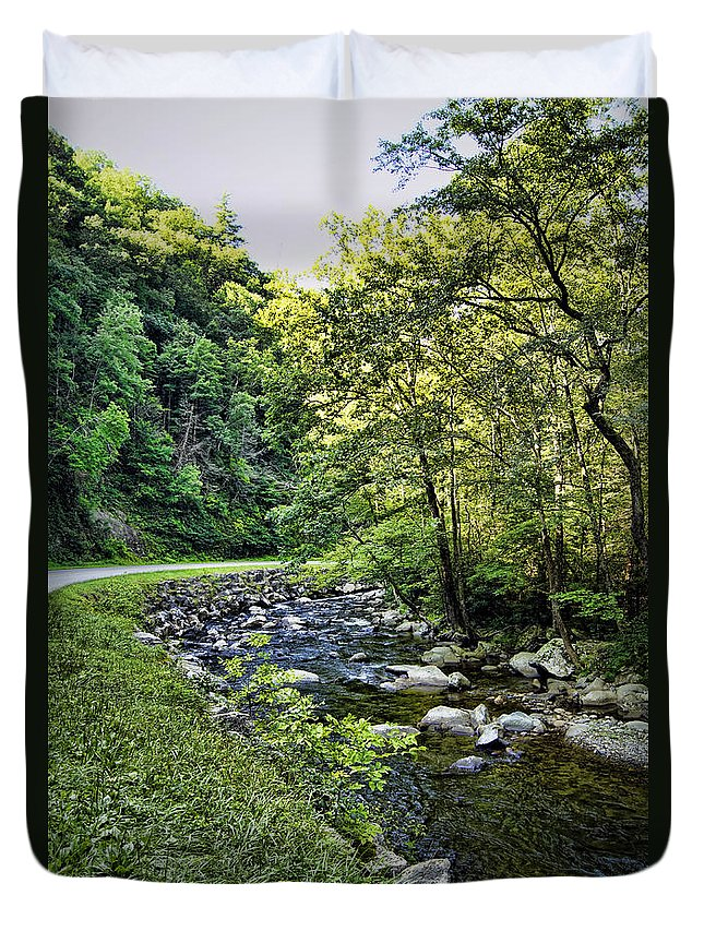 little River Duvet Cover featuring the photograph Little River Road by Cricket Hackmann