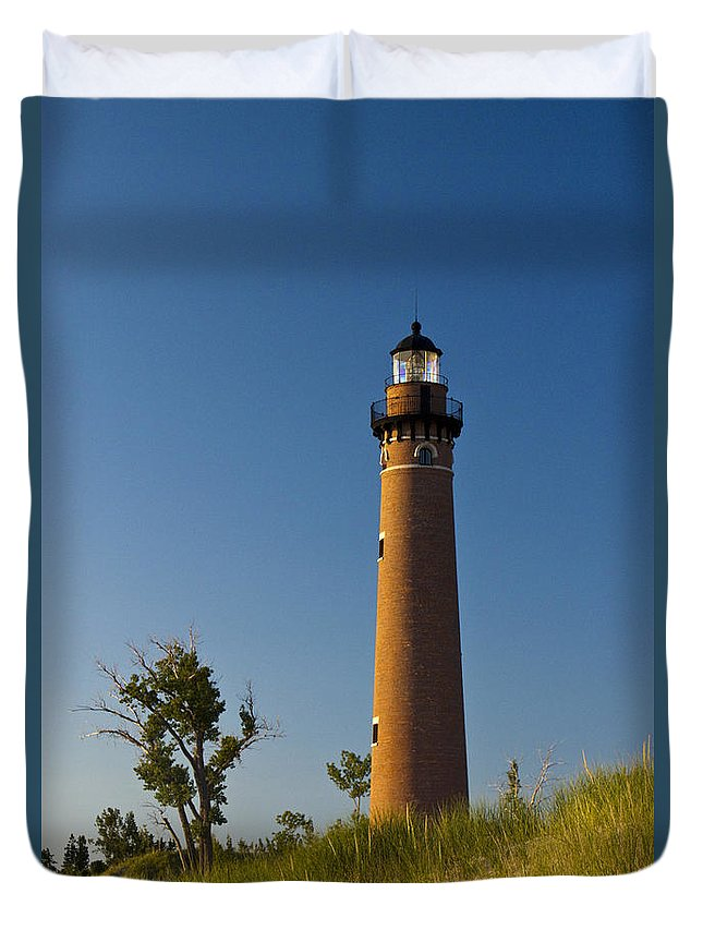 Art Duvet Cover featuring the photograph Little Sable Lighthouse On The Dune By Silver Lake Michigan No.560 by Randall Nyhof