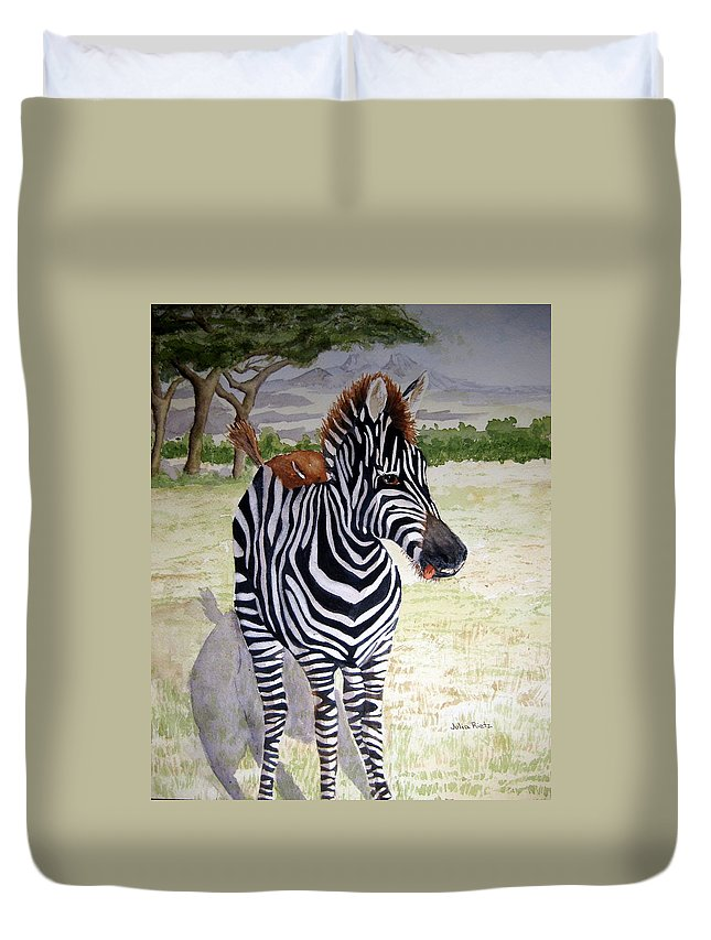 Africa Duvet Cover featuring the painting Little Stripes by Julia RIETZ
