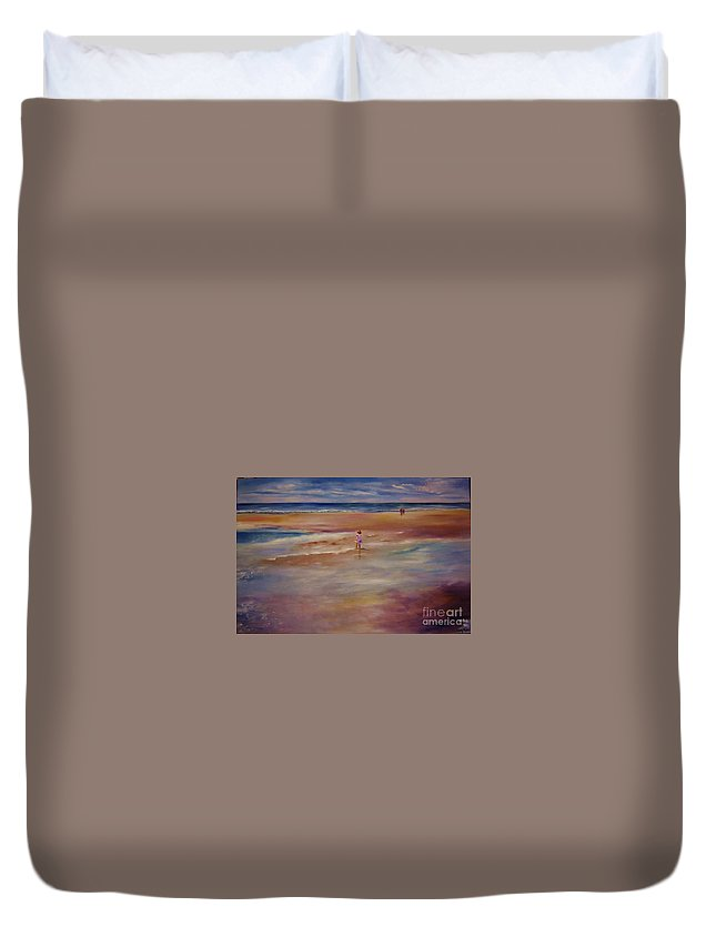 Child Duvet Cover featuring the painting Little Wanderer by Sandy Ryan