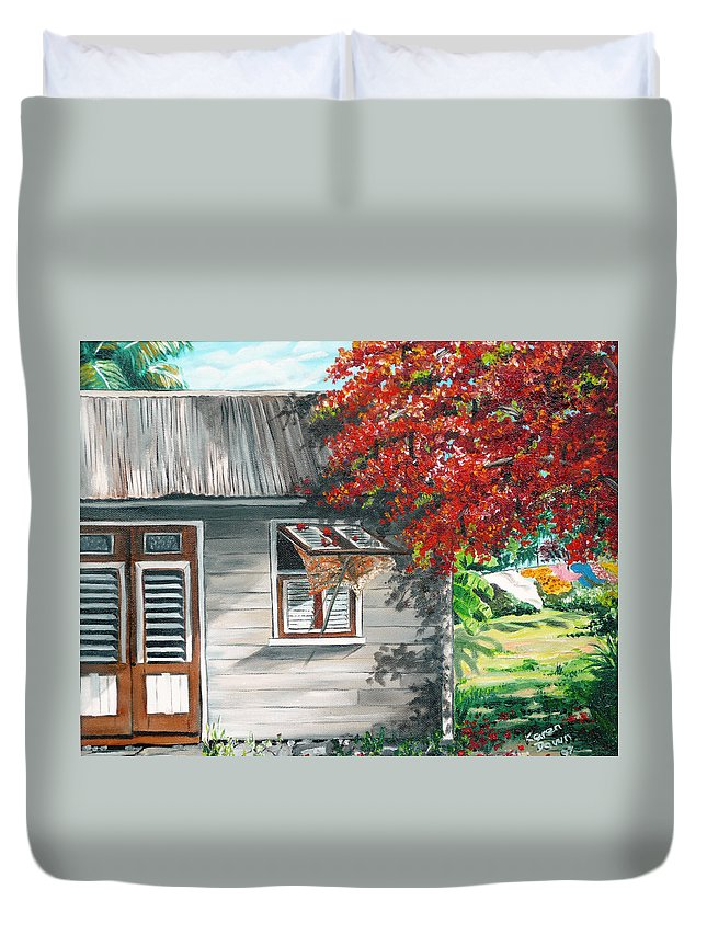 Caribbean Painting Typical Country House In The Caribbean Or West Indian Islands With Flamboyant Tree Tropical Painting Duvet Cover featuring the painting Little West Indian House 1 by Karin Dawn Kelshall- Best