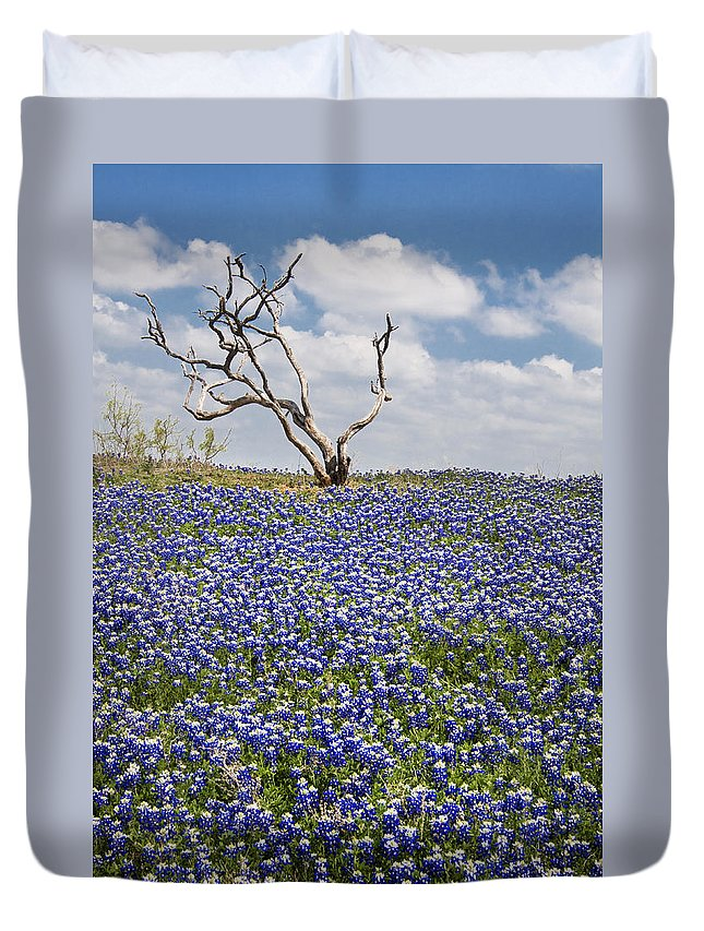 Bloom Duvet Cover featuring the photograph Live Bluebonnets And Dead Tree by David and Carol Kelly