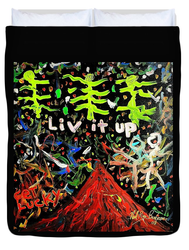 Neal Duvet Cover featuring the painting Live It Up by Neal Barbosa