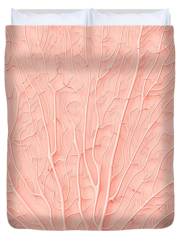 Empty Duvet Cover featuring the photograph Living Coral Color Of The Year 2019 by Artjafara