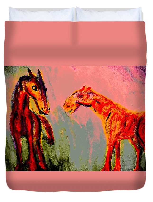 Horses Duvet Cover featuring the painting You Will Be Living In My Dreams by Hilde Widerberg