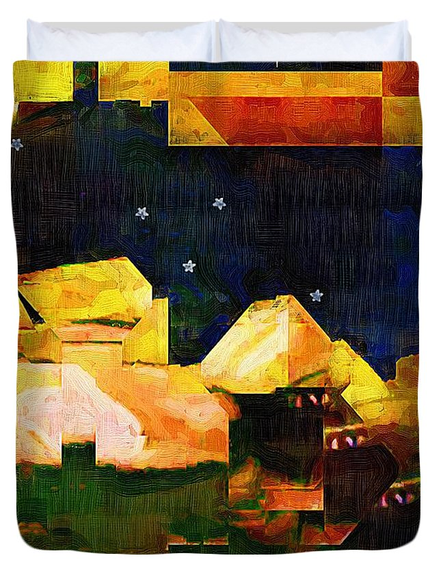 Semi-abstract Duvet Cover featuring the painting Living In The Global Village by RC DeWinter