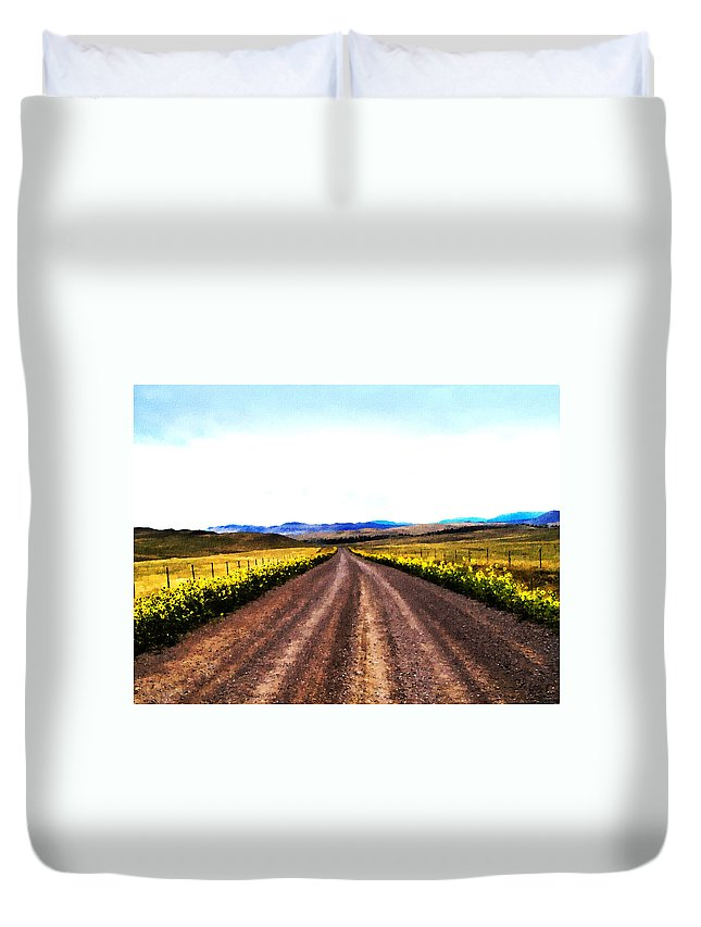 Dirt Roads Duvet Cover featuring the photograph Living On Back Roads by Susan Kinney