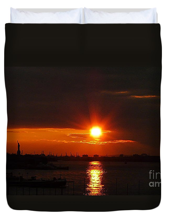 Sunset Duvet Cover featuring the photograph Living Without You by Kendall Eutemey