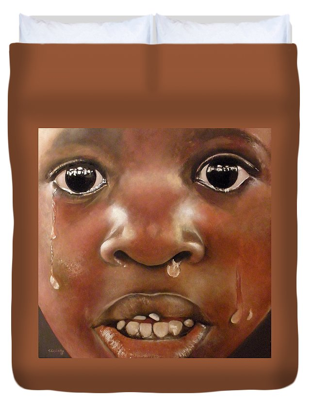Boy Crying Duvet Cover featuring the painting Llanto by Tomas Castano