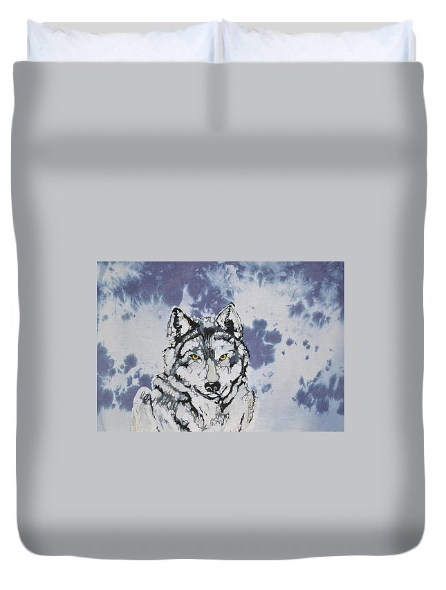 Wolf Duvet Cover featuring the tapestry - textile Lobo by Kate Ford