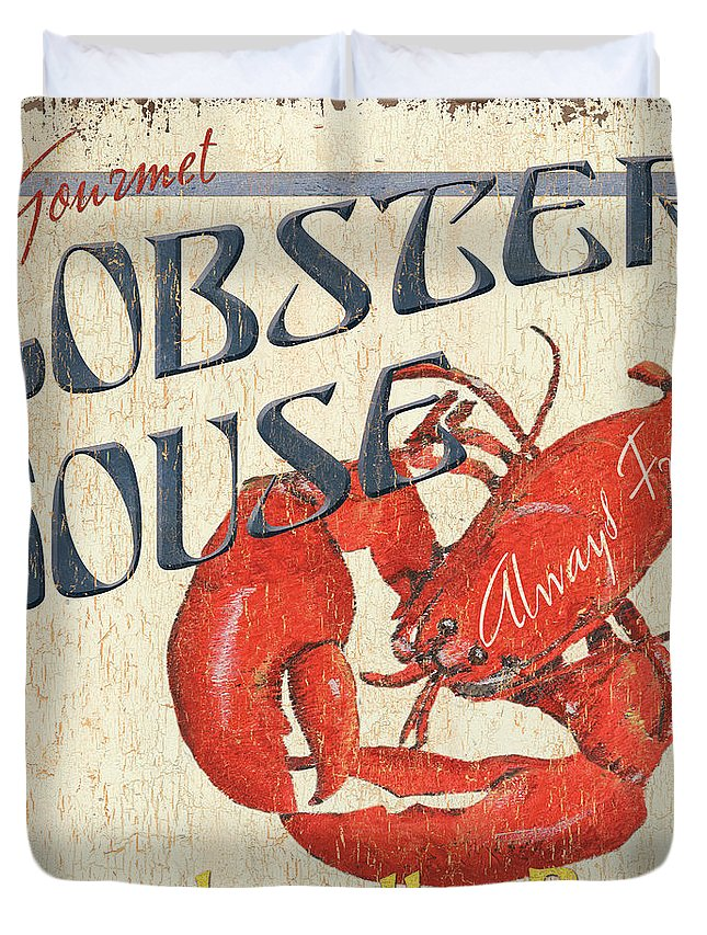 Lobster Duvet Cover featuring the painting Lobster House by Debbie DeWitt