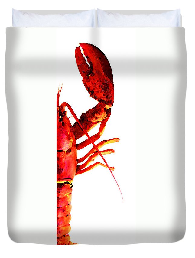 Lobster Duvet Cover featuring the painting Lobster - The Right Side by Sharon Cummings
