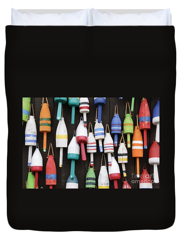 Architecture Duvet Cover featuring the photograph Lobster Trap Marker Bouys by Oscar Gutierrez
