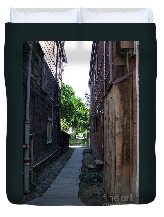 Alleyways Duvet Cover featuring the photograph Locke Chinatown Series - Alleyway With Trees - 4 by Mary Deal