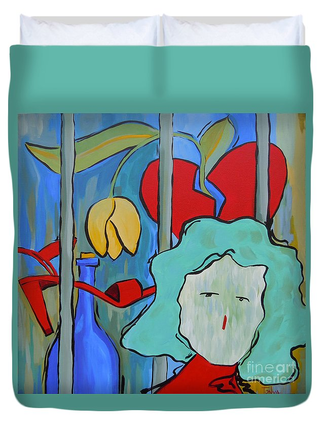 Heart Duvet Cover featuring the painting Locked Up by Tonya Henderson