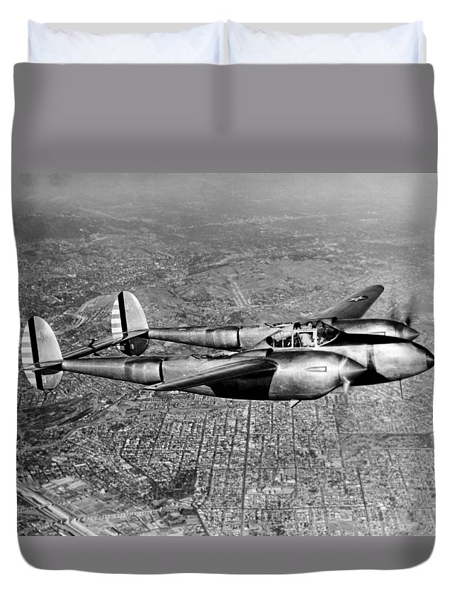 1035-631 Duvet Cover featuring the photograph Lockheed P-38 Lightning Fighter by Underwood Archives