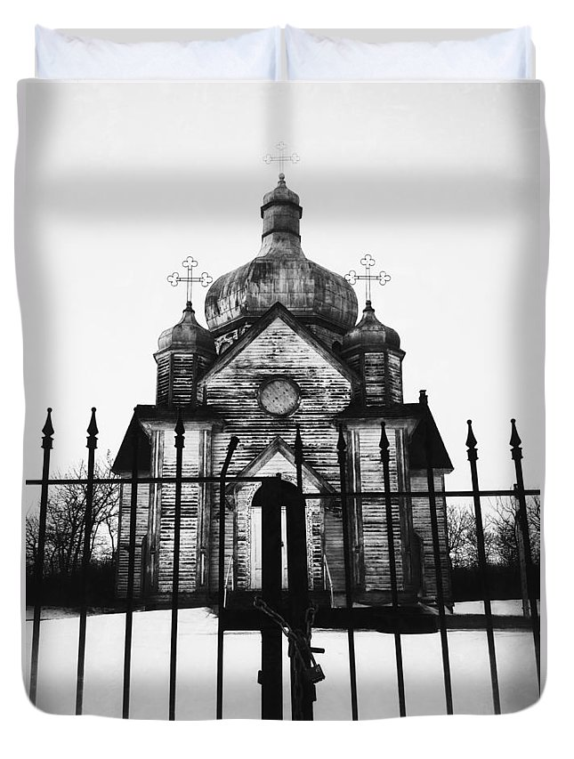 Church Duvet Cover featuring the photograph Locking The Faith by The Artist Project