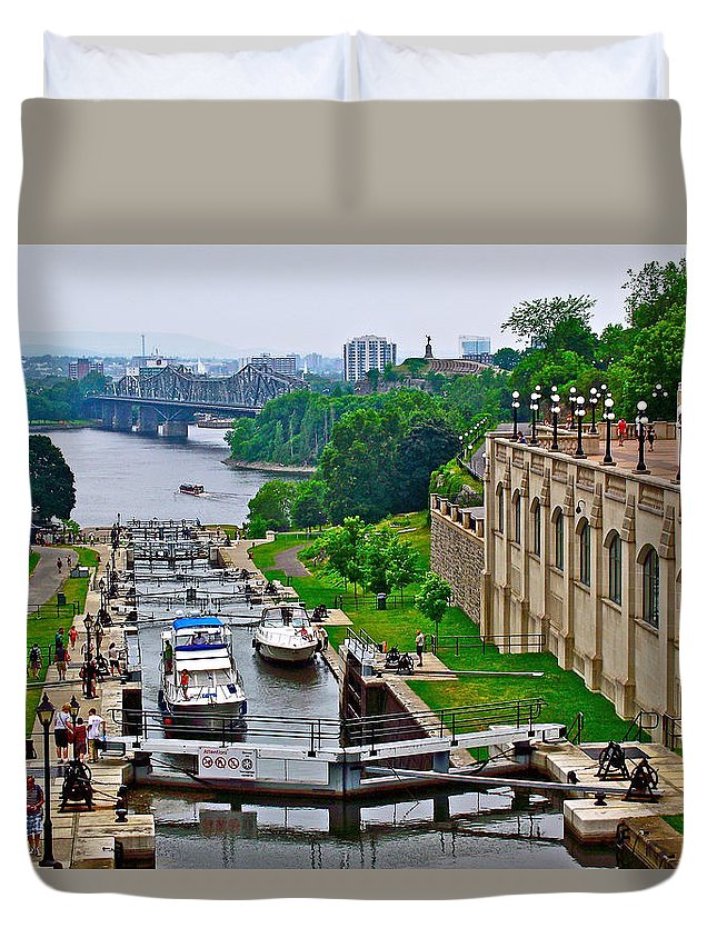 Locks On Rideau Canal East Of Parliament Building In Ottawa Duvet Cover featuring the photograph Locks On Rideau Canal East Of Parliament Building In Ottawa-on by Ruth Hager