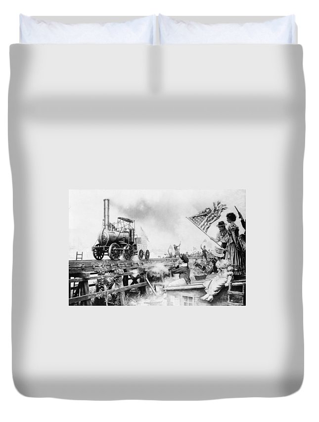 1829 Duvet Cover featuring the painting Locomotive, 1929 by Granger