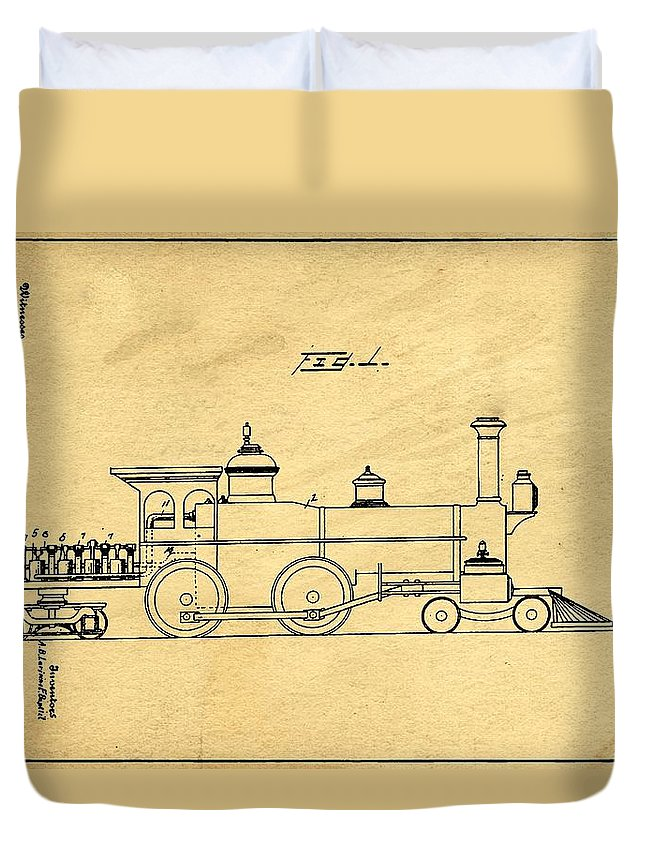 Retro Revival Duvet Cover featuring the photograph Locomotive Support Patent Drawing From 1915 1 by Samir Hanusa