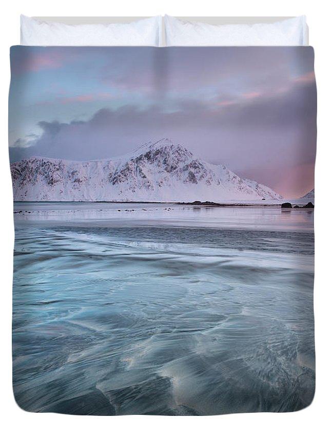 Scenics Duvet Cover featuring the photograph Lofoten Island Sunrise by Antonyspencer