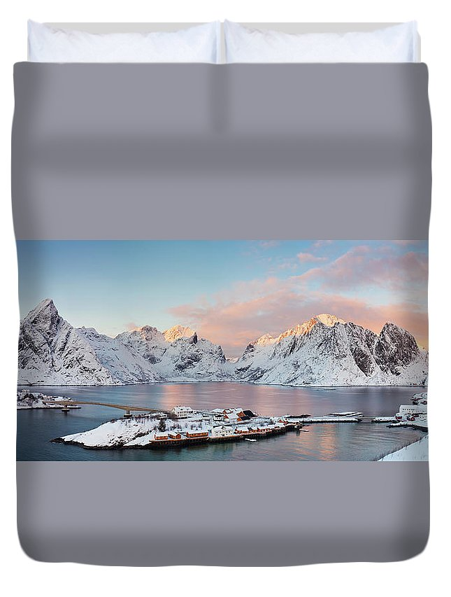 Tranquility Duvet Cover featuring the photograph Lofoten Islands Winter Panorama by Esen Tunar Photography