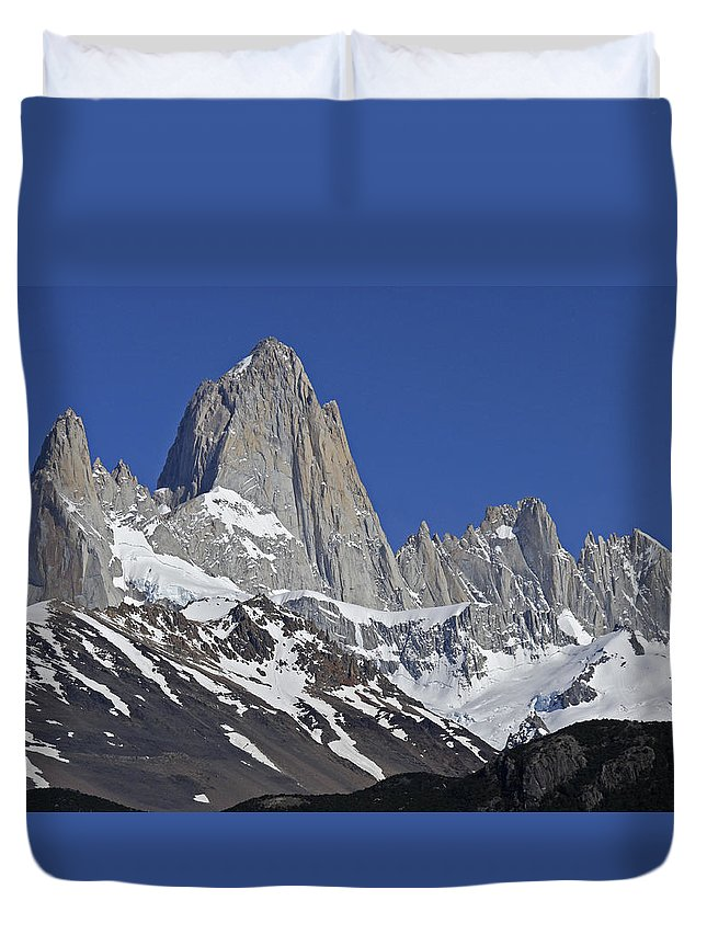 Argentina Duvet Cover featuring the photograph Lofty Mount Fitz Roy by Michele Burgess
