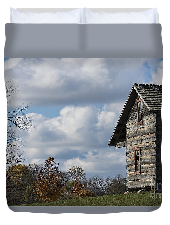 Log Cabin Duvet Cover featuring the photograph Log Cabin And November Sky by David Arment