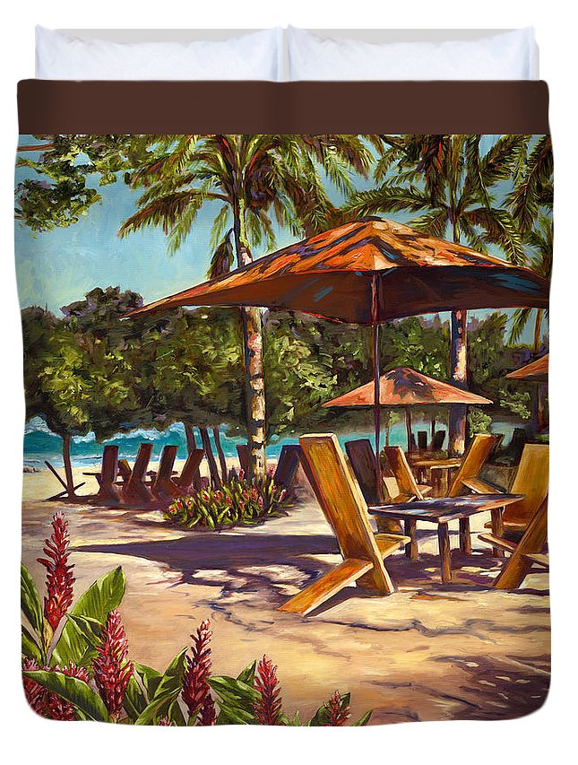 Tropical Duvet Cover featuring the painting Lola's In Costa Rica by Christie Michael