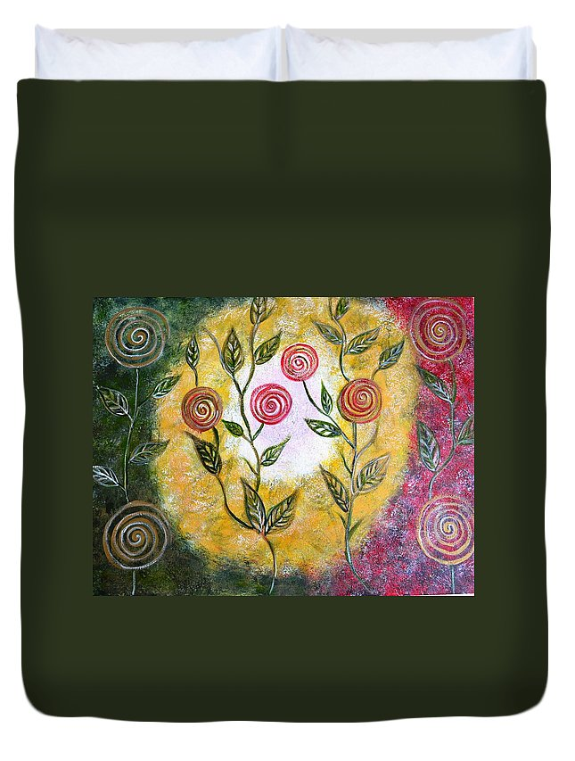 Abstract Circles Leaves Pop Fun Lollipop Red Green Yellow White Canvas Landscape Sponge Round Modern Duvet Cover featuring the painting Lollipop Flowers by Manjiri Kanvinde