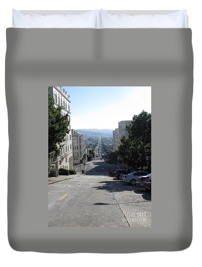 San Francisco Duvet Cover featuring the photograph Lombard Street. San Francisco 2010 by Ausra Huntington nee Paulauskaite