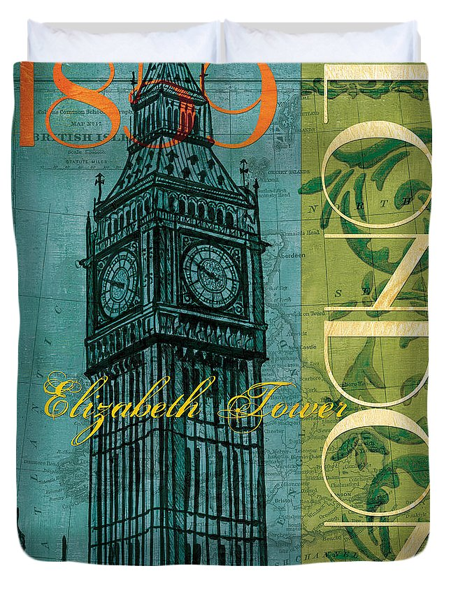 London Duvet Cover featuring the painting London 1859 by Debbie DeWitt