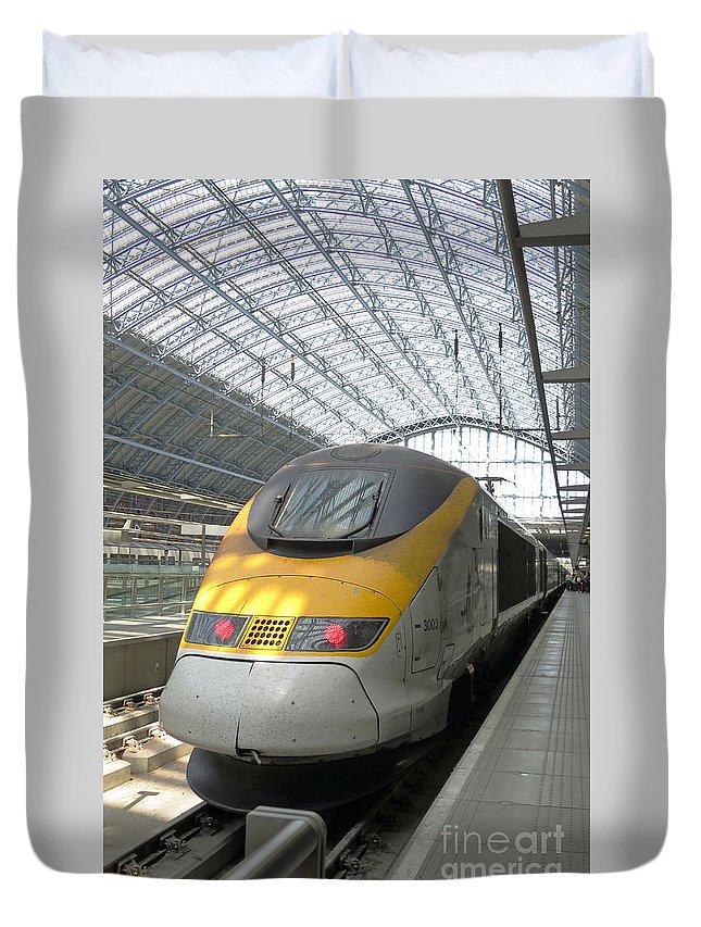 Train Duvet Cover featuring the photograph London Arrival by Ann Horn