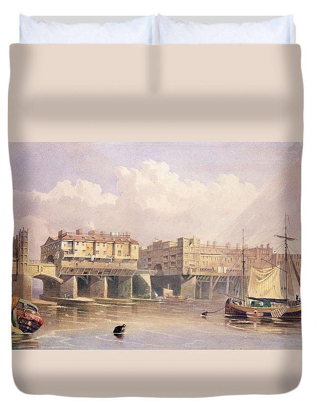 London Bridge Duvet Cover featuring the drawing London Bridge, 1835 by George Pyne