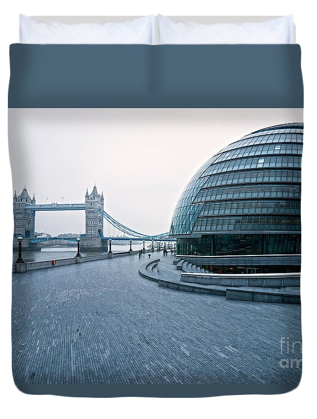 Architecture Duvet Cover featuring the photograph London City Hall by Luciano Mortula