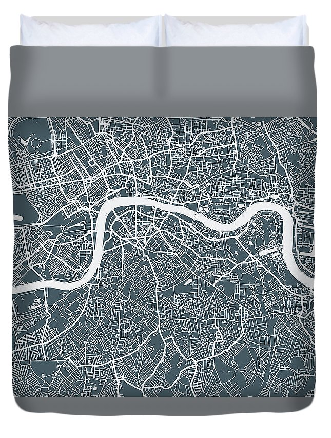 Art Duvet Cover featuring the digital art London City Map by Mattjeacock