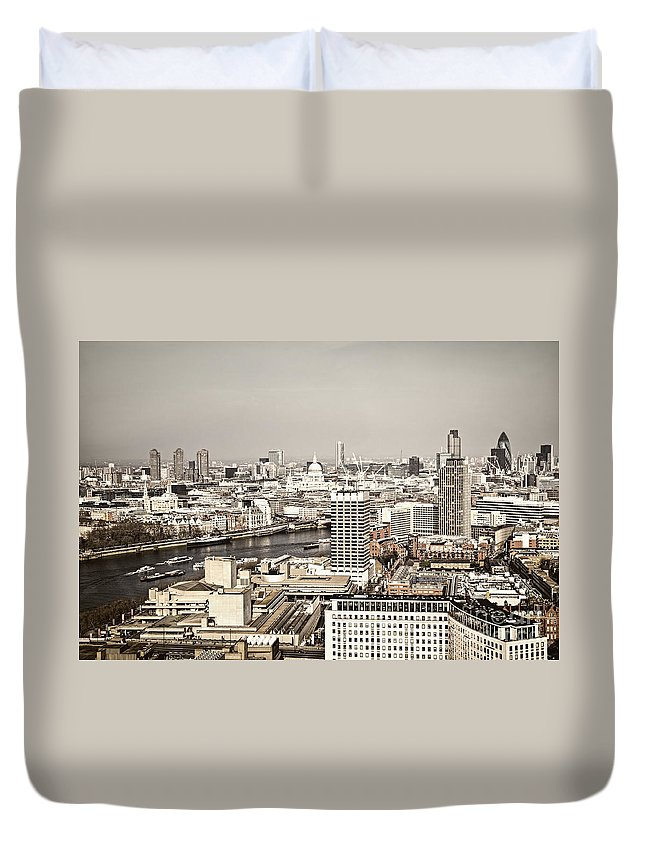 Buildings Duvet Cover featuring the photograph London Cityscape by Elena Elisseeva