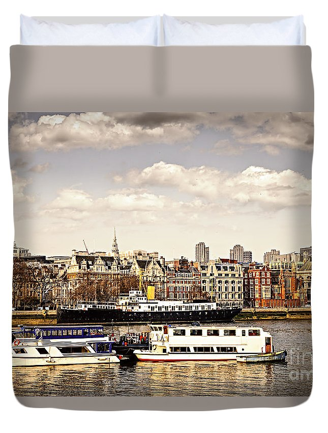 London Duvet Cover featuring the photograph London From Thames River by Elena Elisseeva