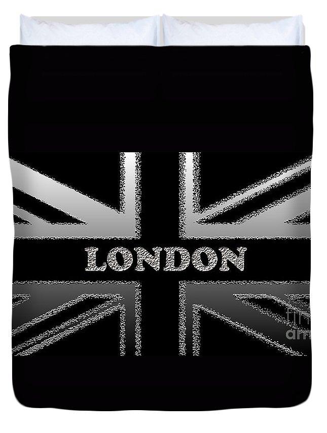 London Duvet Cover featuring the digital art London Modern Union Jack Flag by Ckeen Art