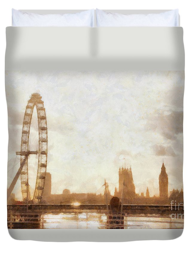 London Duvet Cover featuring the painting London Skyline At Dusk 01 by Pixel Chimp